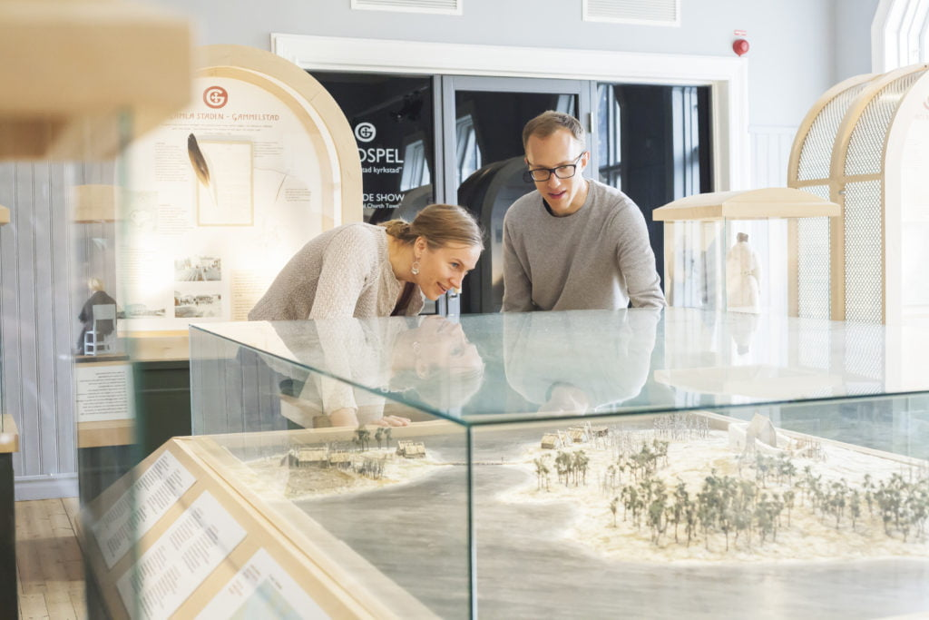 Visitors in the exhibition at the Visitor Centre